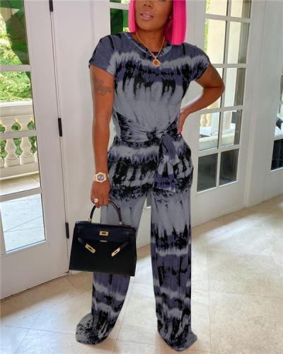 Printed Tied Tee & Pants Set