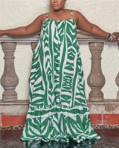 Printed casual mopping dress
