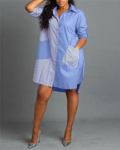 Striped stitching irregular casual shirt