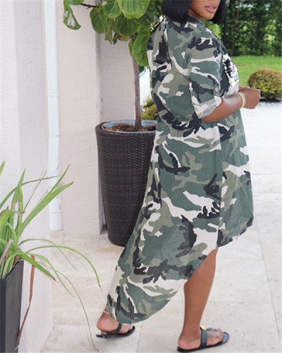 Long Sleeve Loose Stand Collar Camouflage Print Long Shirt