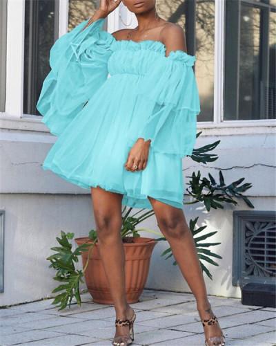 Pure color high-waist suspender-type temperament dress