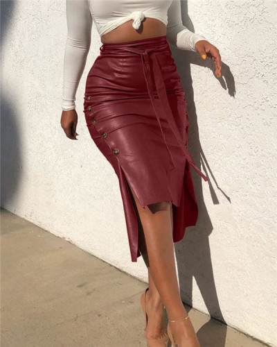 Tied Faux-Leather Skirt