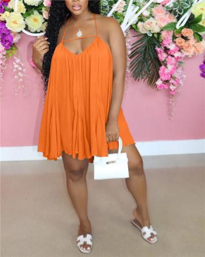 Pure color chiffon halter dress