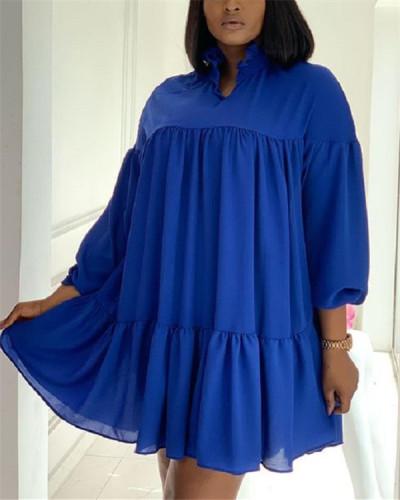 Long sleeve solid color loose big size dress