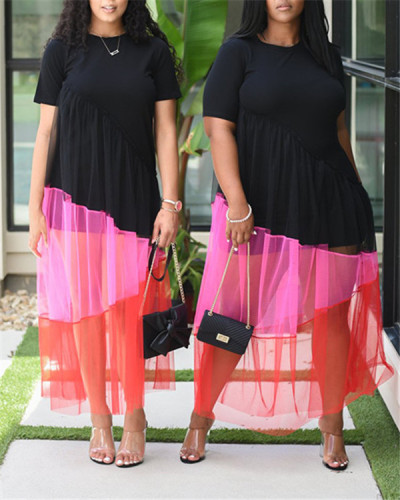 Temperament round neck polyester mesh stitching dress