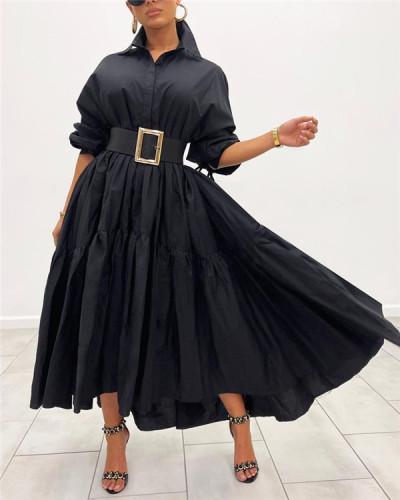 Solid Ruffle Shirt Dress