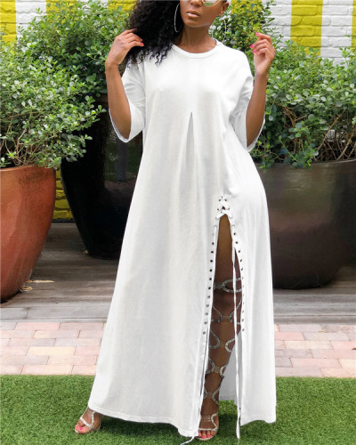 White Lace-up Slit Dress