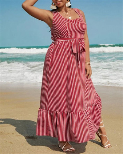 Square collar striped ruffled European and American plus size dress