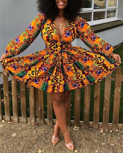 Ethnic style digital printing women's long-sleeved V-neck dress