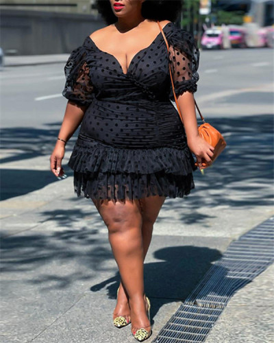 sexy V-neck puff sleeve plus size dress