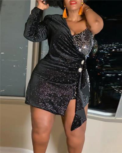 Flannel sequin twill bag hip plus size dress