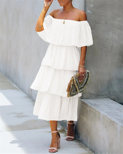 Large size solid color strapless loose short sleeve chiffon dress