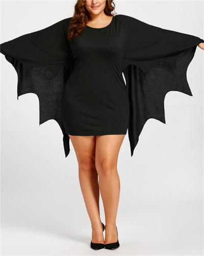 Bat shirt mid-length dress Halloween female costume