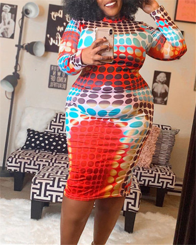 Printed color block tight-fitting hip dress