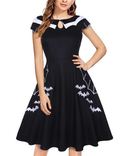 Halloween bat embroidery plus size women's dress
