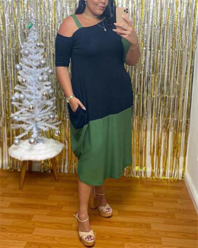 Sling shoulder fashion contrast stitching dress