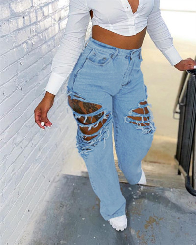 Straight pants fashionable ripped loose jeans