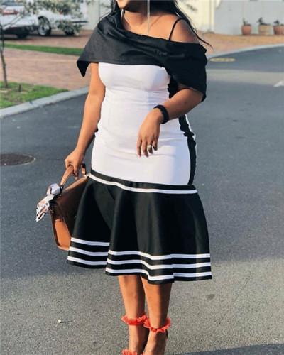 Off-the-shoulder plus size dress