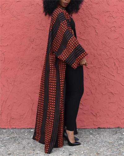 Large size versatile long loose printed cardigan jacket
