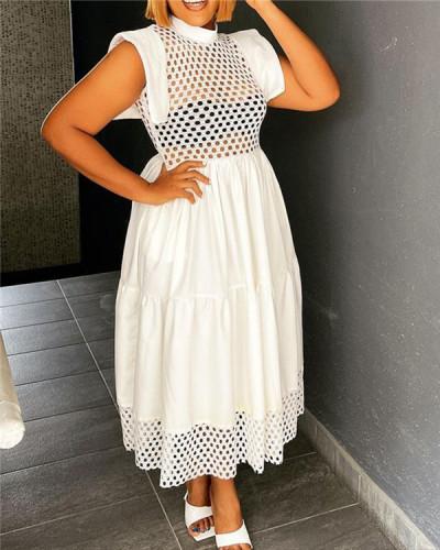 Hollow stitching loose A-line skirt dress