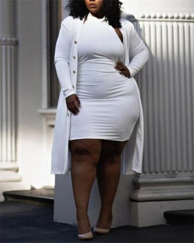 Pure white plus size two-piece casual temperament