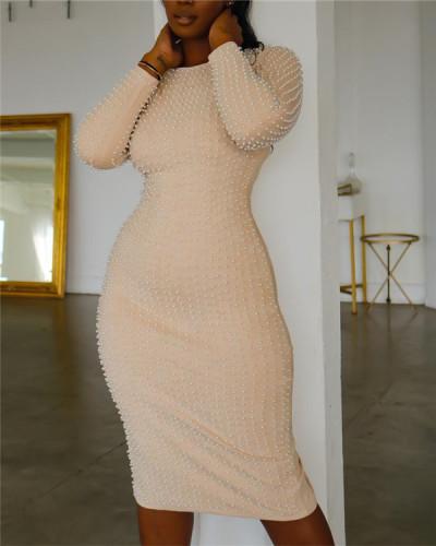 Bubble bead slit dress