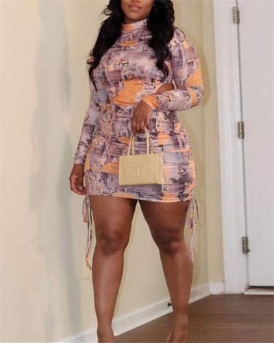 Plus size drawstring skirt printed dress