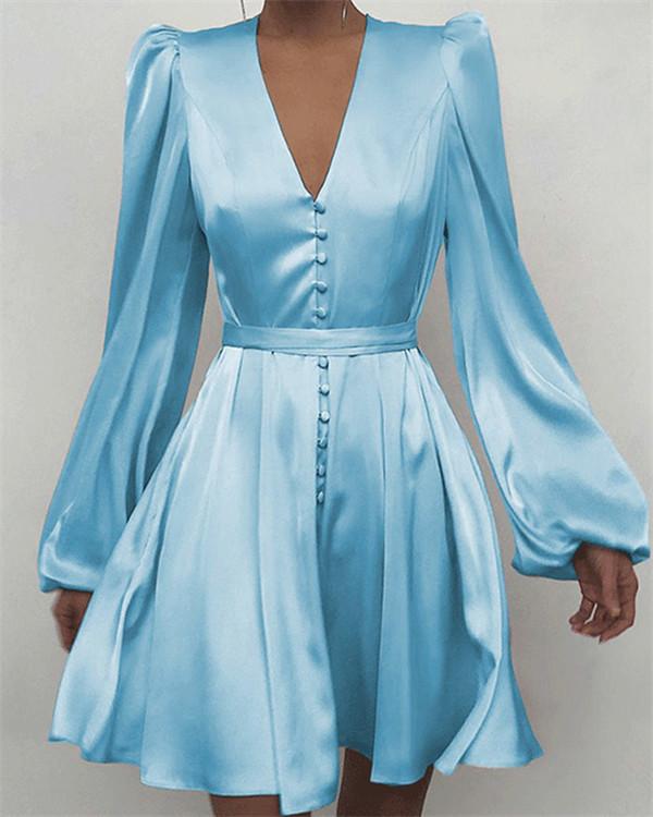 V-Neck Puff-Sleeve Dress