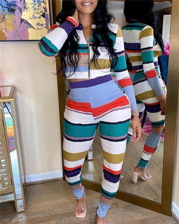 Colorblock Zip-Front Top & Pants Set