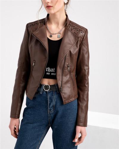 Plue Size Faux Leather Moto Jacket