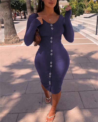 Button-Front Ribbed Dress