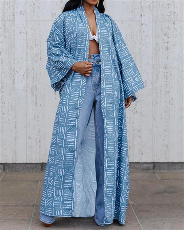Long loose fashion printed shirt