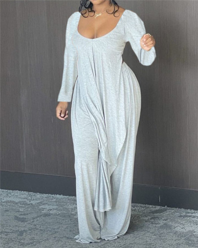 Low-cut irregular loose long-sleeved two-piece suit