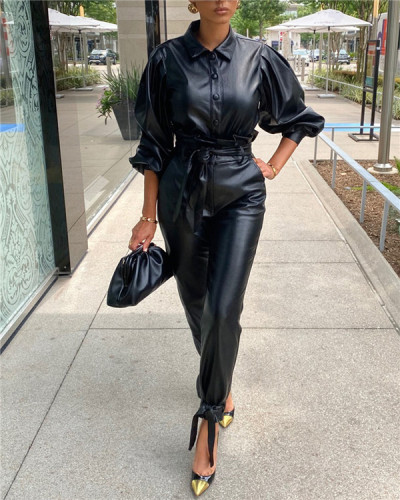 Two-piece pu leather long-sleeved suit