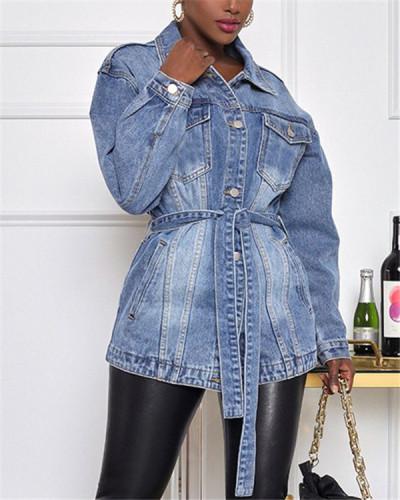 Casual waist denim jacket