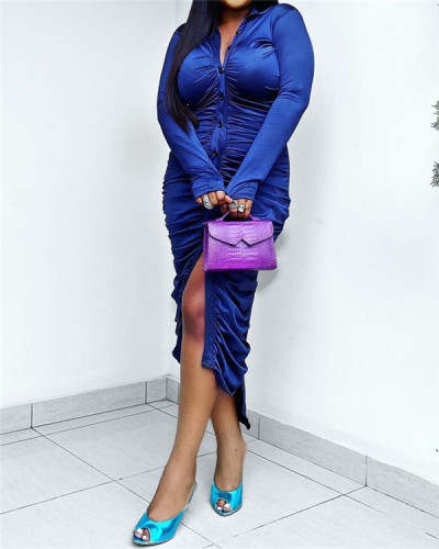 Solid color pleated tight dress