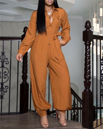 Pure color long-sleeved fashion jumpsuit