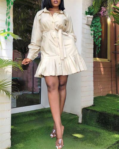Shirt dress pocket pleated skirt