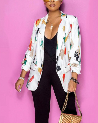 Color palette style printed buttonless jacket