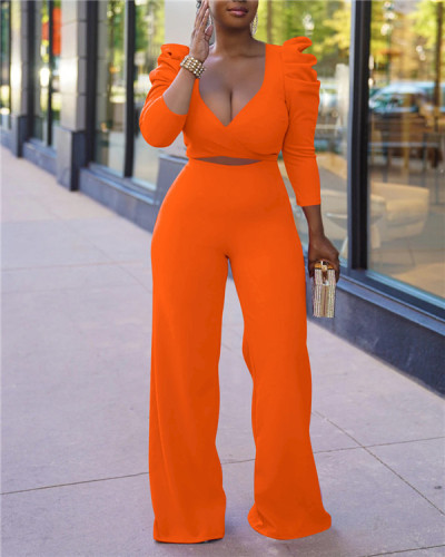 Two-piece set of solid color puff sleeves with hollow front straps