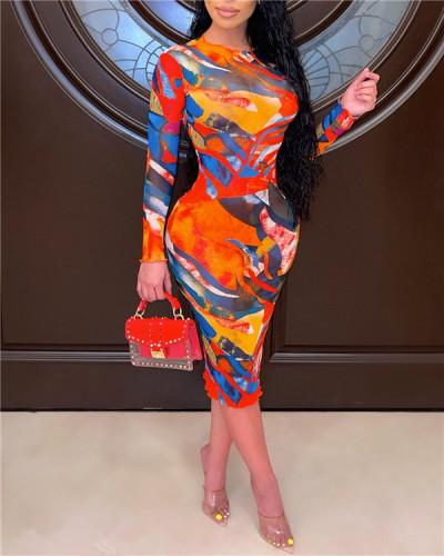 Plus size women's fashion casual printed dress