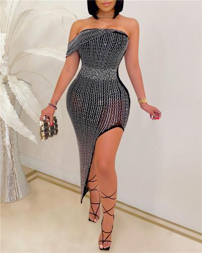 Studded Asymmetric Dress