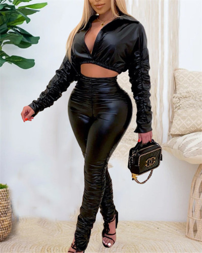 Fashion casual PU leather wrinkled elastic two-piece suit