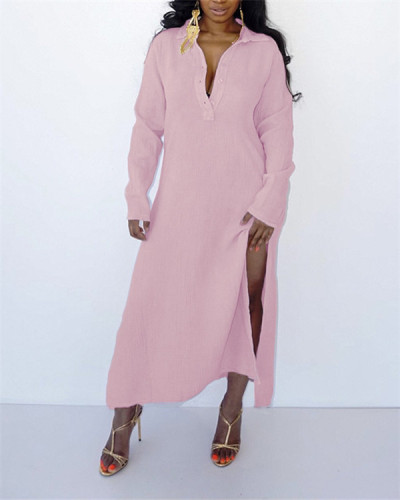 Loose casual solid color long slit ladies dress