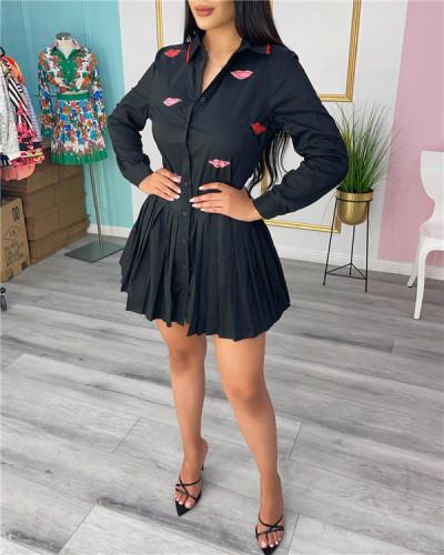 Fashion pleated shirt dress