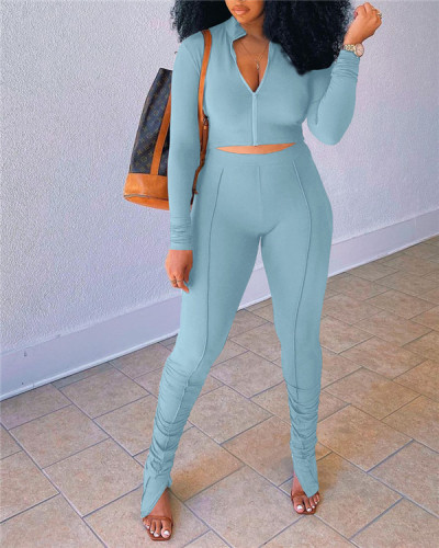 Casual stitching pleated long-sleeved two-piece suit