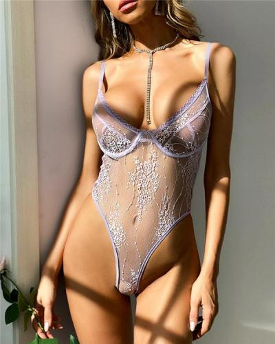 Crochet Lace Sheer Mesh Plunge Teddy