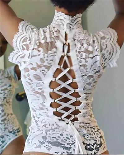 Crochet Lace Backless Bandage Teddy