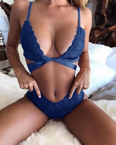 Plus Size Sexy Bowknot Lace Bra Set