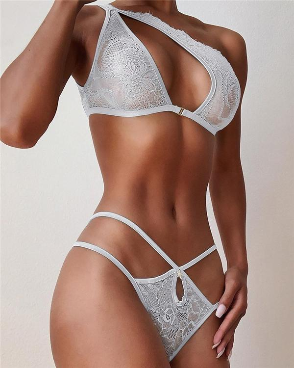 One Shoulder Cutout Design Lace Insert Bra Set